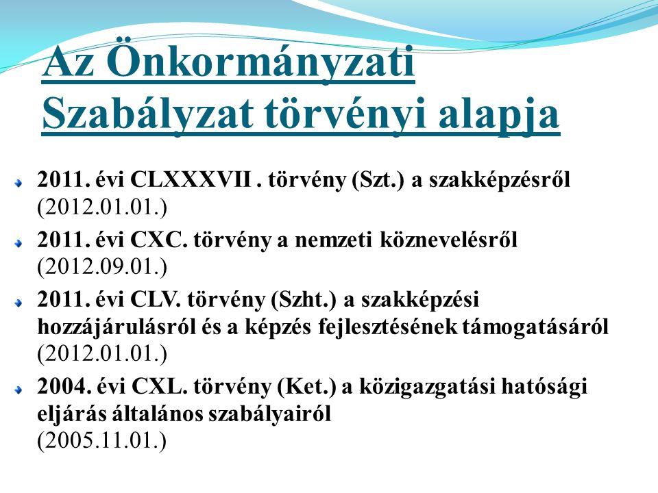 Az Önkormányzati Szabályzat törvényi alapja 2011. évi CLXXXVII. törvény (Szt.) a szakképzésről (2012.01.01.) 2011. évi CXC. törvény a nemzeti köznevel