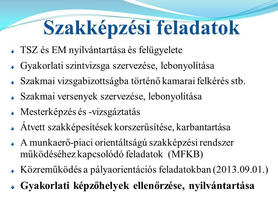 Szakképzési feladatok TSZ és EM nyilvántartása és felügyelete Gyakorlati szintvizsga szervezése, lebonyolítása Szakmai vizsgabizottságba történő kamar