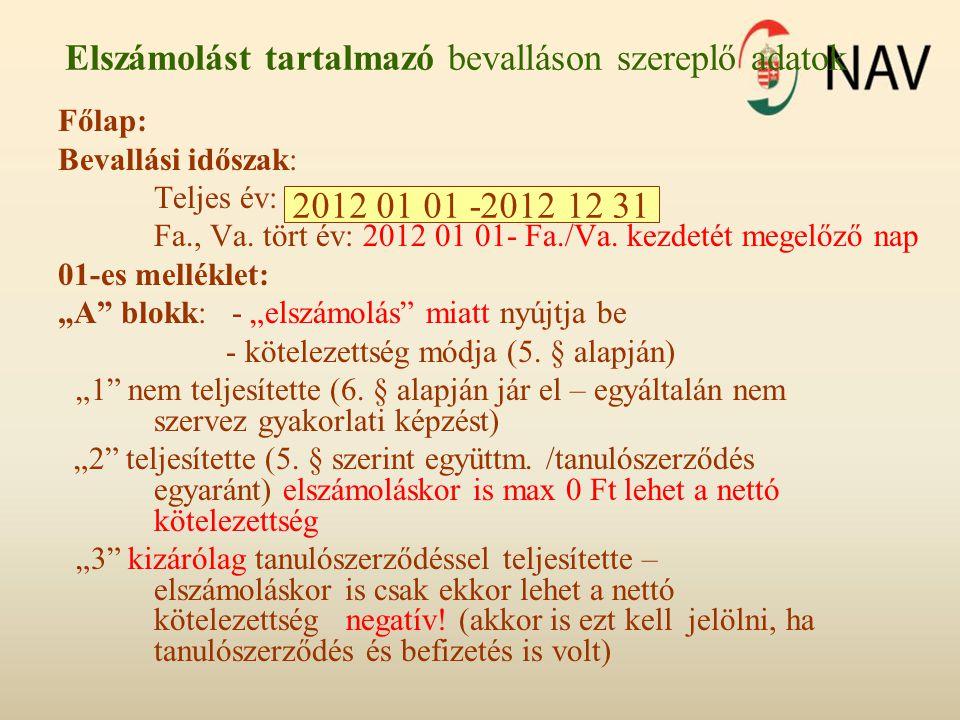 Elszámolást tartalmazó bevalláson szereplő adatok Főlap: Bevallási időszak: Teljes év: 2012 01 01 – 2012 12 31 Fa., Va. tört év: 2012 01 01- Fa./Va. k