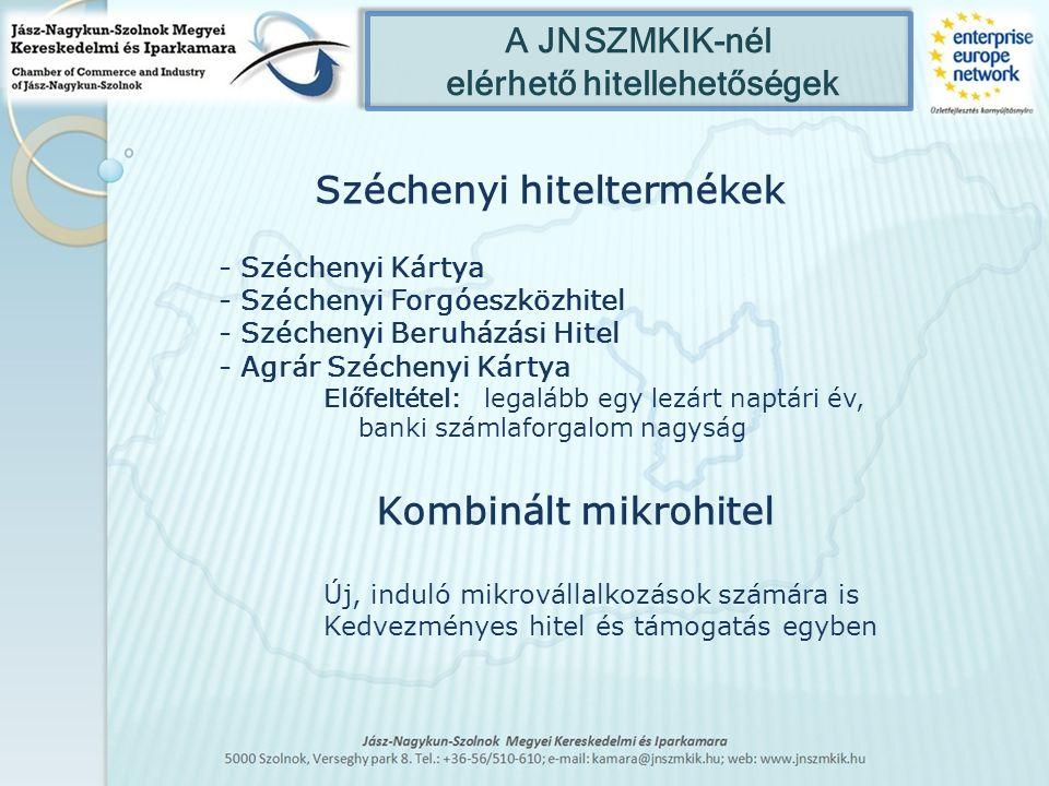 A JNSZMKIK-nél elérhető hitellehetőségek Széchenyi hiteltermékek - Széchenyi Kártya - Széchenyi Forgóeszközhitel - Széchenyi Beruházási Hitel - Agrár