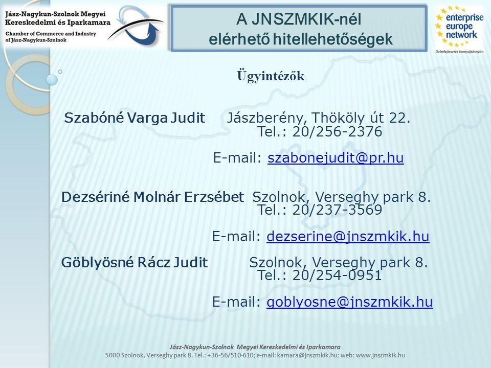 A JNSZMKIK-nél elérhető hitellehetőségek Ügyintézők Szabóné Varga Judit Jászberény, Thököly út 22. Tel.: 20/256-2376 E-mail: szabonejudit@pr.huszabone
