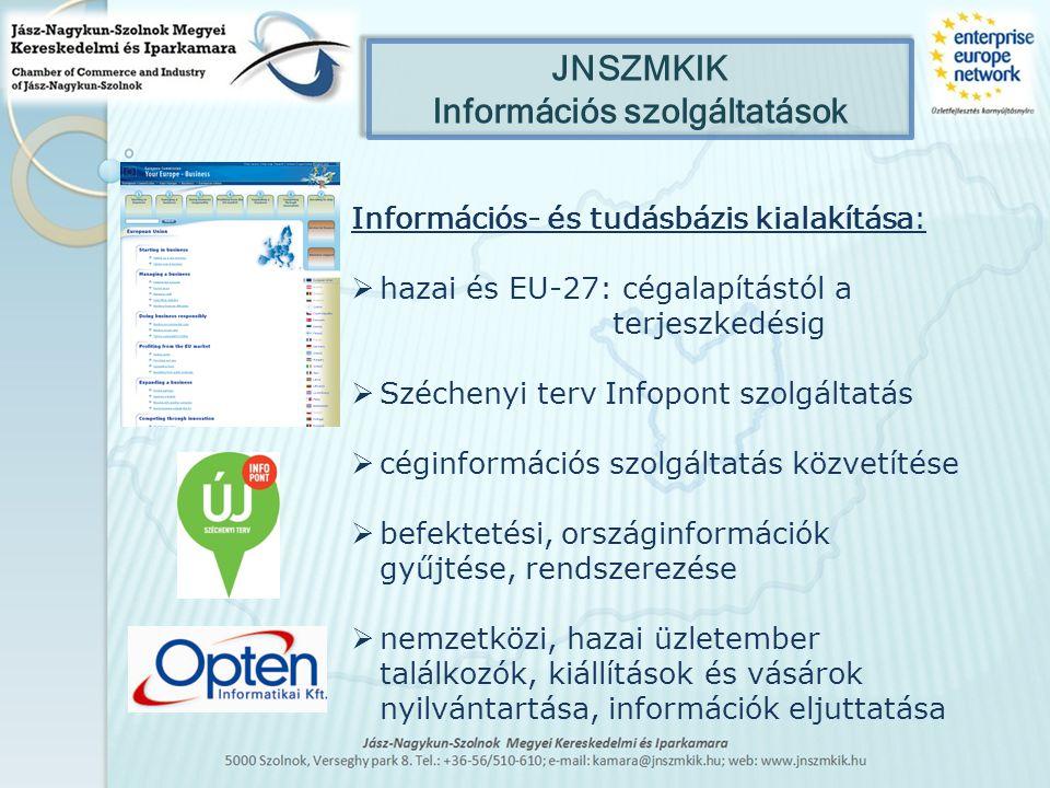Szolgáltatások a JNSZMKIK-nél Üzleti partnerkereső – Business Corporation database 54 ország 600 EEN irodájában Technológiai eljárás kereső/kínáló adatbázis Bulletin Board System A partnerség és együttműködés elősegítésének eszköze a technoló- gia, know-how és innováció területén, segítség a bekerüléshez EU-s tenderfigyelő rendszer Feliratkozással, automatikus értesítés Tanácsadás általános uniós témák, megfelelőség-értékelés, CE jelölés környezetvédelem, munkahelyi egészség és biztonság, vállalati társadalmi felelősségvállalás területén Workshopok, képzések, információs napok szervezése