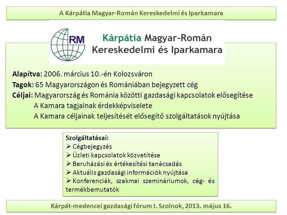 A Kárpátia Magyar-Román Kereskedelmi és Iparkamara Alapítva: 2006. március 10.-én Kolozsváron Tagok: 65 Magyarországon és Romániában bejegyzett cég Cé
