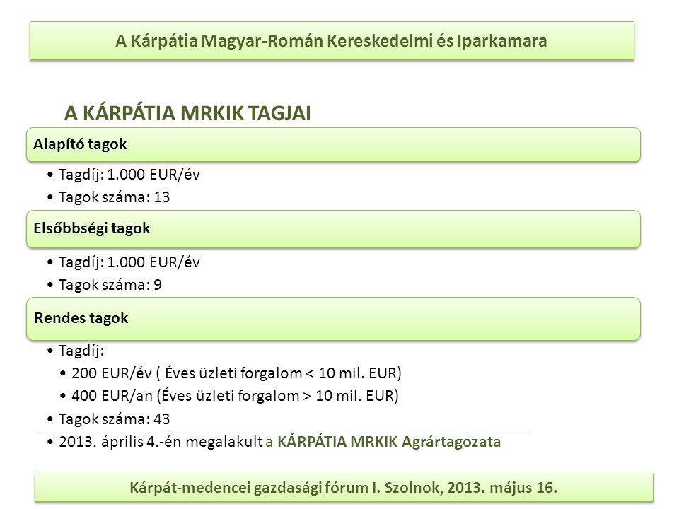 A Kárpátia Magyar-Román Kereskedelmi és Iparkamara A KÁRPÁTIA MRKIK TAGJAI Alapító tagok Tagdíj: 1.000 EUR/év Tagok száma: 13 Elsőbbségi tagok Tagdíj: