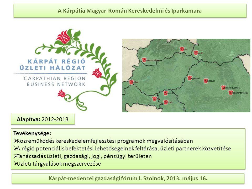 A Kárpátia Magyar-Román Kereskedelmi és Iparkamara Kárpát-medencei gazdasági fórum I. Szolnok, 2013. május 16. Tevékenysége:  Közreműködés kereskedel