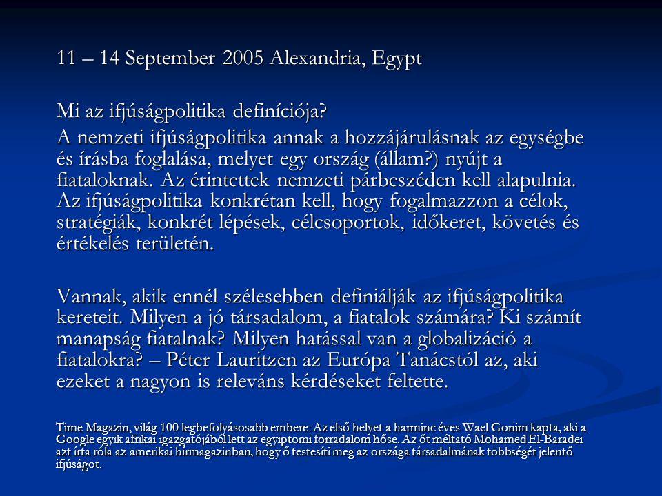11 – 14 September 2005 Alexandria, Egypt Mi az ifjúságpolitika definíciója.