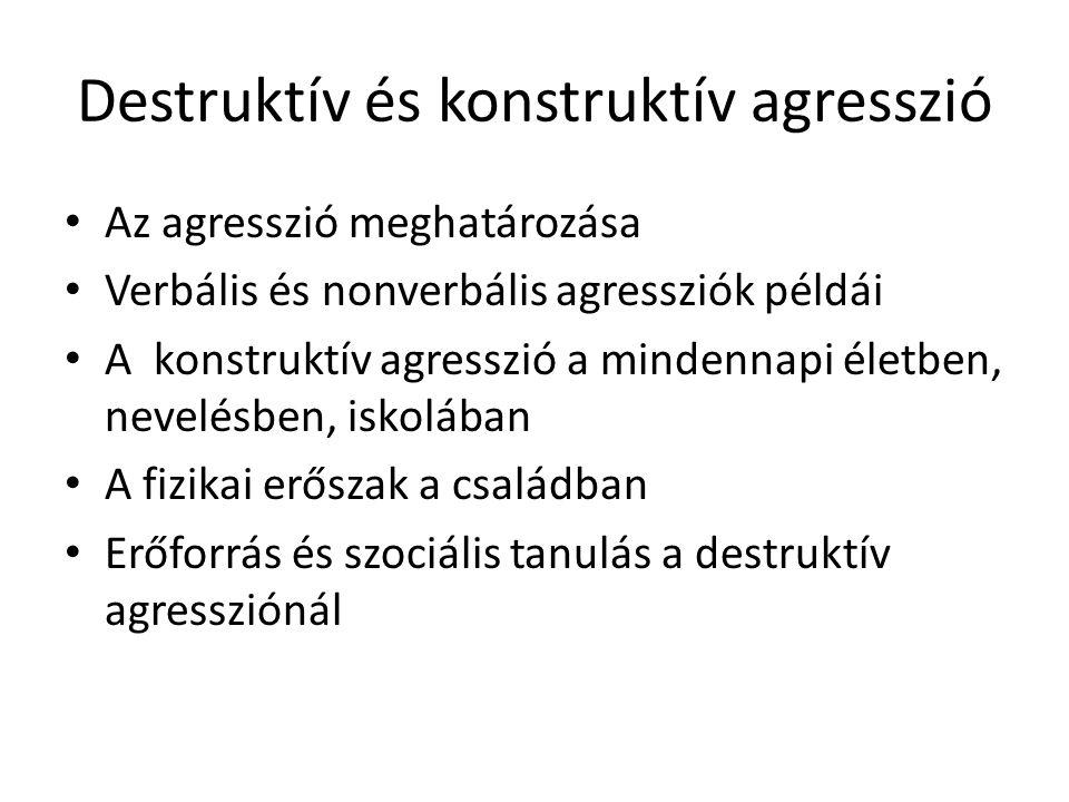 Destruktív és konstruktív agresszió Az agresszió meghatározása Verbális és nonverbális agressziók példái A konstruktív agresszió a mindennapi életben,
