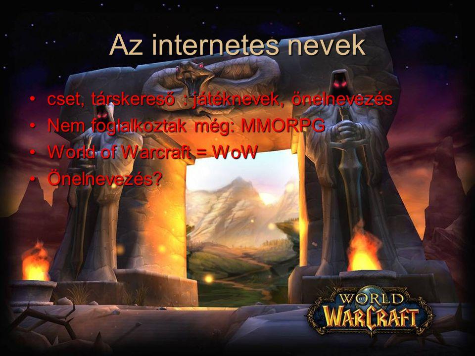 Az internetes nevek cset, társkereső : játéknevek, önelnevezéscset, társkereső : játéknevek, önelnevezés Nem foglalkoztak még: MMORPGNem foglalkoztak még: MMORPG World of Warcraft = WoWWorld of Warcraft = WoW Önelnevezés?Önelnevezés?