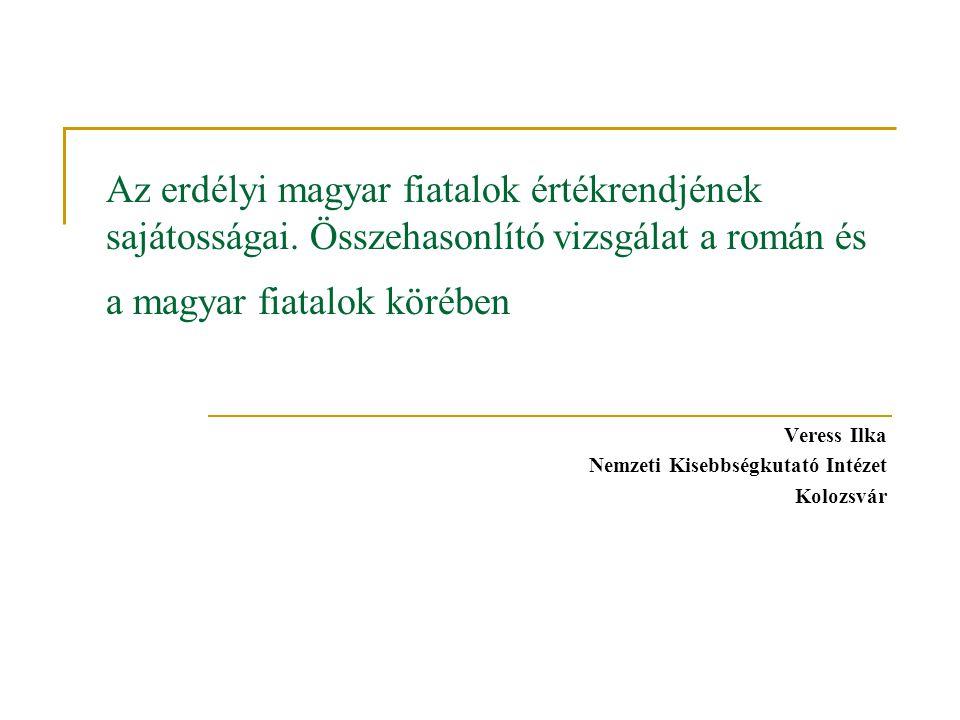 Az erdélyi magyar fiatalok értékrendjének sajátosságai.