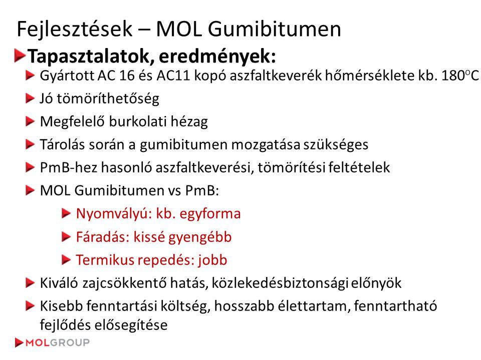 Fejlesztések – MOL Gumibitumen Tapasztalatok, eredmények: Gyártott AC 16 és AC11 kopó aszfaltkeverék hőmérséklete kb. 180 o C Jó tömöríthetőség Megfel
