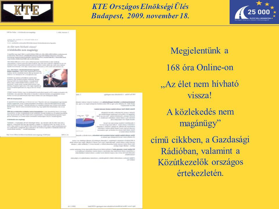 """KTE Országos Elnökségi Ülés Budapest, 2009. november 18. Megjelentünk a 168 óra Online-on """"Az élet nem hívható vissza! A közlekedés nem magánügy"""" című"""