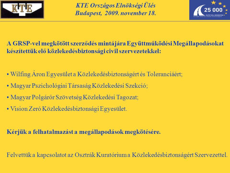 KTE Országos Elnökségi Ülés Budapest, 2009. november 18. A GRSP-vel megkötött szerződés mintájára Együttműködési Megállapodásokat készítettük elő közl