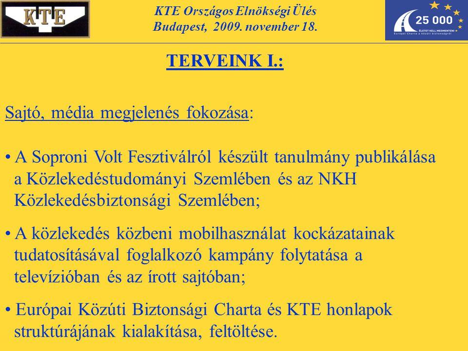 KTE Országos Elnökségi Ülés Budapest, 2009. november 18. TERVEINK I.: Sajtó, média megjelenés fokozása: A Soproni Volt Fesztiválról készült tanulmány