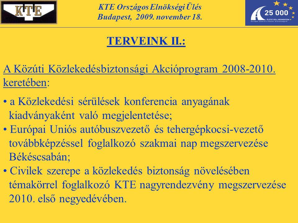 KTE Országos Elnökségi Ülés Budapest, 2009. november 18. TERVEINK II.: A Közúti Közlekedésbiztonsági Akcióprogram 2008-2010. keretében: a Közlekedési