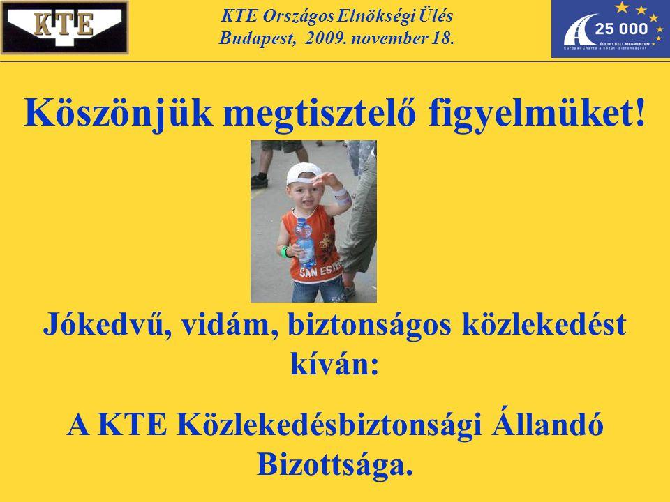 KTE Országos Elnökségi Ülés Budapest, 2009. november 18. Köszönjük megtisztelő figyelmüket! Jókedvű, vidám, biztonságos közlekedést kíván: A KTE Közle