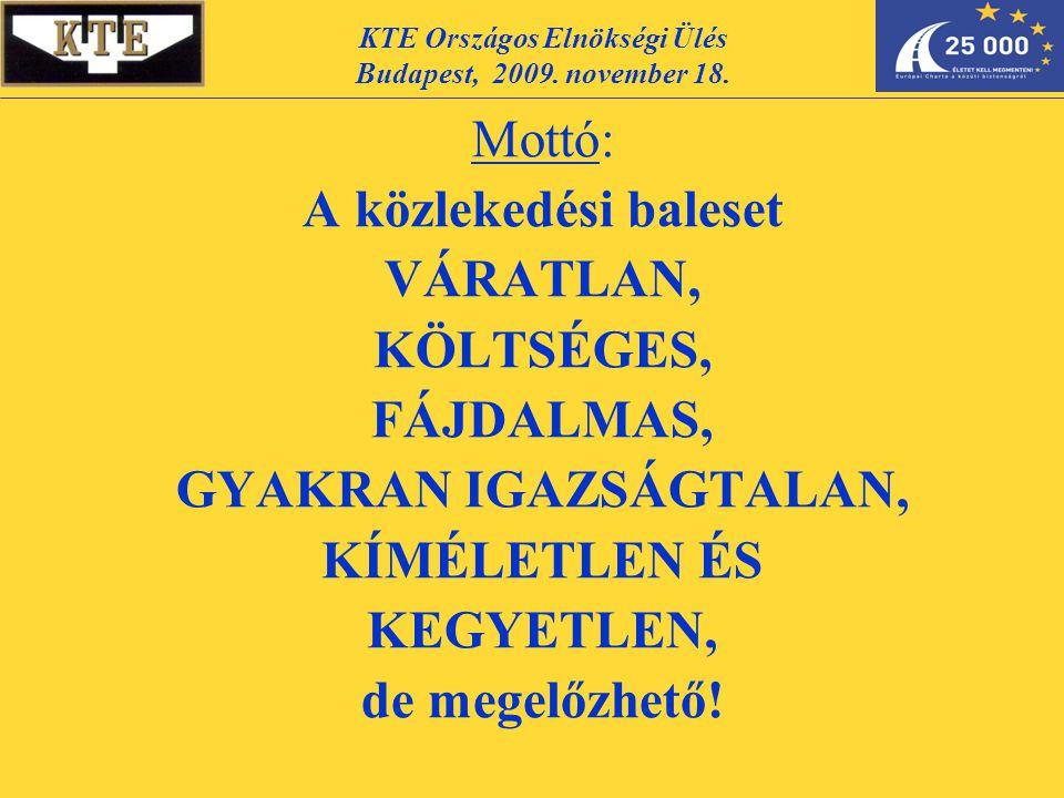 Mottó: A közlekedési baleset VÁRATLAN, KÖLTSÉGES, FÁJDALMAS, GYAKRAN IGAZSÁGTALAN, KÍMÉLETLEN ÉS KEGYETLEN, de megelőzhető! KTE Országos Elnökségi Ülé