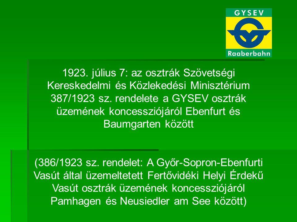 1923. július 7: az osztrák Szövetségi Kereskedelmi és Közlekedési Minisztérium 387/1923 sz. rendelete a GYSEV osztrák üzemének koncessziójáról Ebenfur