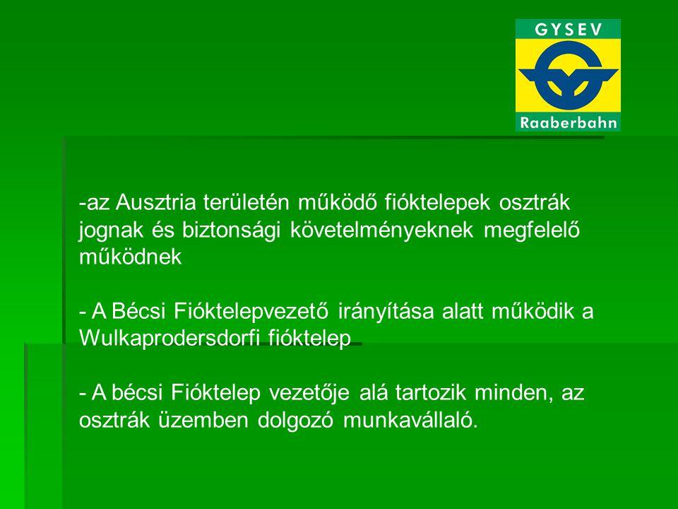 -az Ausztria területén működő fióktelepek osztrák jognak és biztonsági követelményeknek megfelelő működnek - A Bécsi Fióktelepvezető irányítása alatt működik a Wulkaprodersdorfi fióktelep - A bécsi Fióktelep vezetője alá tartozik minden, az osztrák üzemben dolgozó munkavállaló.