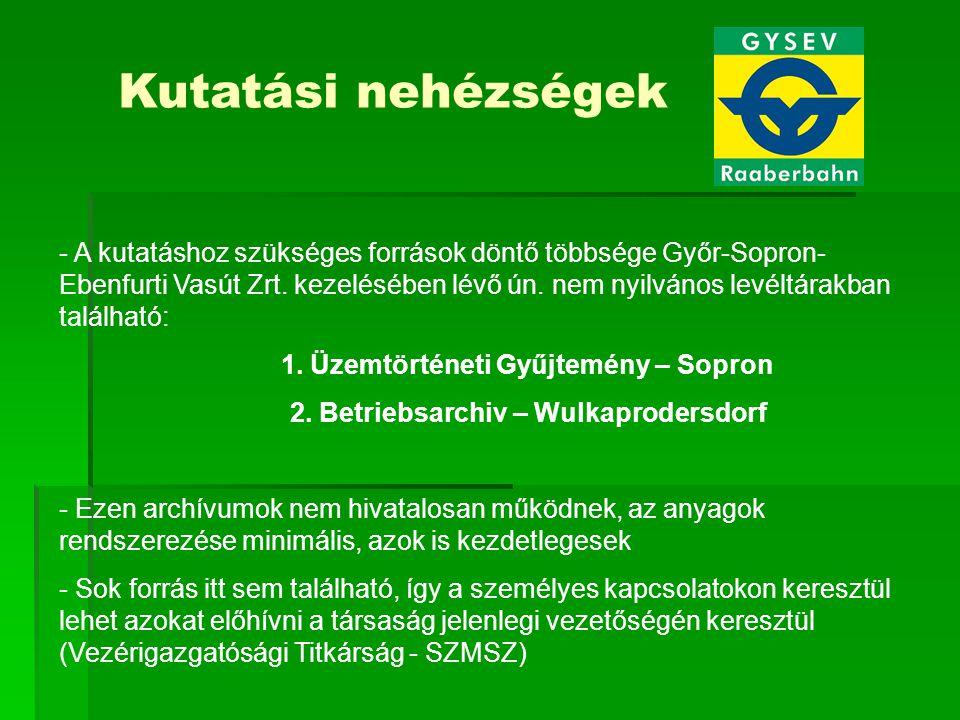 Kutatási nehézségek - A kutatáshoz szükséges források döntő többsége Győr-Sopron- Ebenfurti Vasút Zrt. kezelésében lévő ún. nem nyilvános levéltárakba