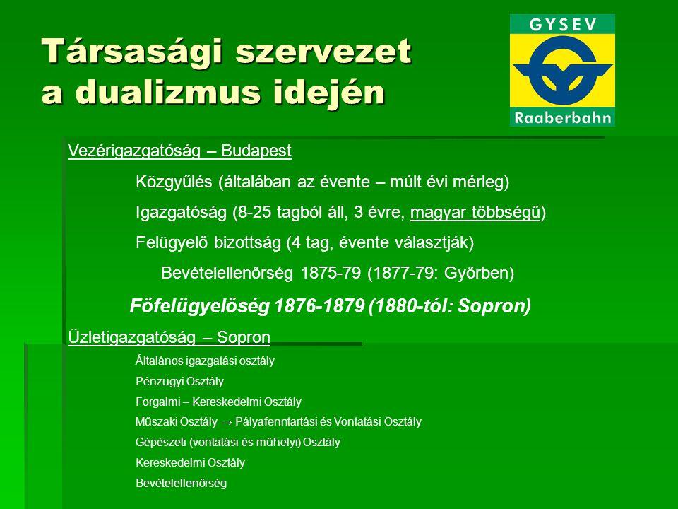 Társasági szervezet a dualizmus idején Vezérigazgatóság – Budapest Közgyűlés (általában az évente – múlt évi mérleg) Igazgatóság (8-25 tagból áll, 3 évre, magyar többségű) Felügyelő bizottság (4 tag, évente választják) Bevételellenőrség 1875-79 (1877-79: Győrben) Főfelügyelőség 1876-1879 (1880-tól: Sopron) Üzletigazgatóság – Sopron Általános igazgatási osztály Pénzügyi Osztály Forgalmi – Kereskedelmi Osztály Műszaki Osztály → Pályafenntartási és Vontatási Osztály Gépészeti (vontatási és műhelyi) Osztály Kereskedelmi Osztály Bevételellenőrség