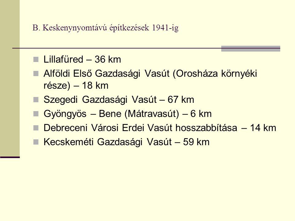 B. Keskenynyomtávú építkezések 1941-ig Lillafüred – 36 km Alföldi Első Gazdasági Vasút (Orosháza környéki része) – 18 km Szegedi Gazdasági Vasút – 67
