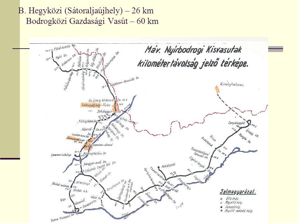 B. Hegyközi (Sátoraljaújhely) – 26 km Bodrogközi Gazdasági Vasút – 60 km