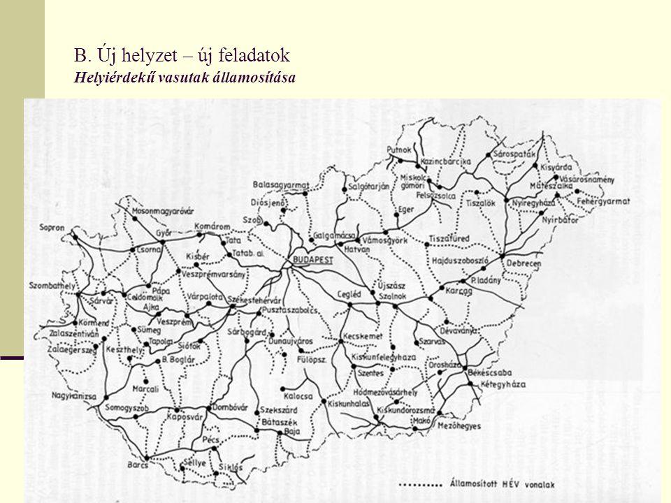 B. Új helyzet – új feladatok Helyiérdekű vasutak államosítása