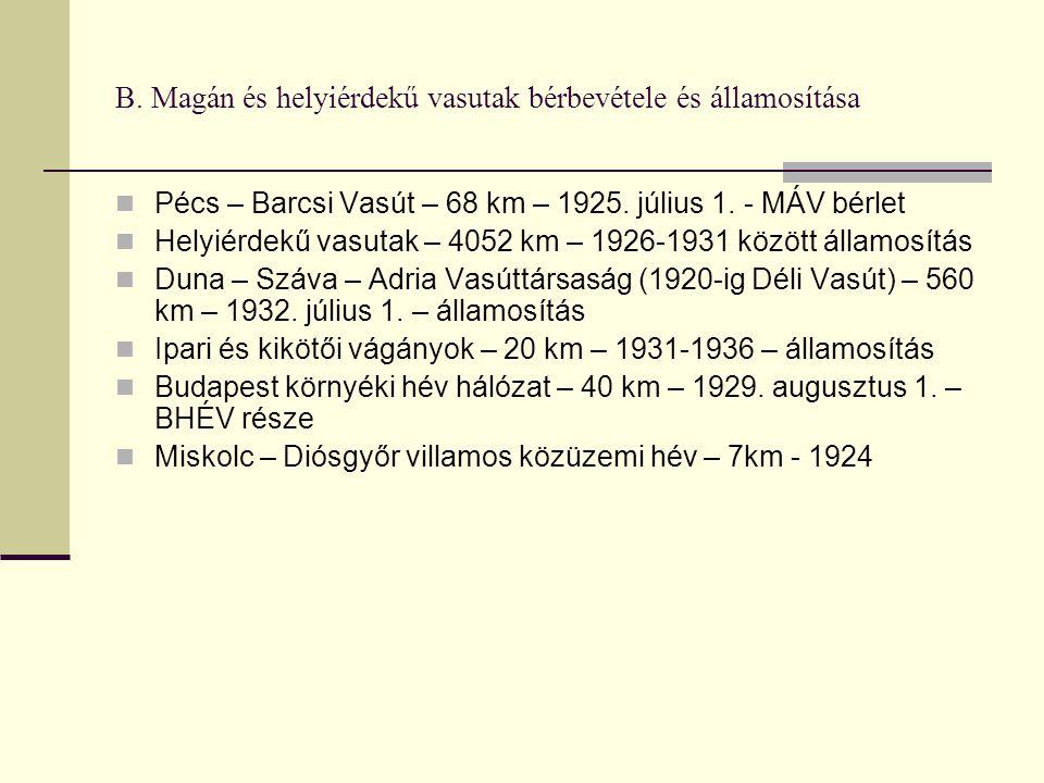 B.Magán és helyiérdekű vasutak bérbevétele és államosítása Pécs – Barcsi Vasút – 68 km – 1925.