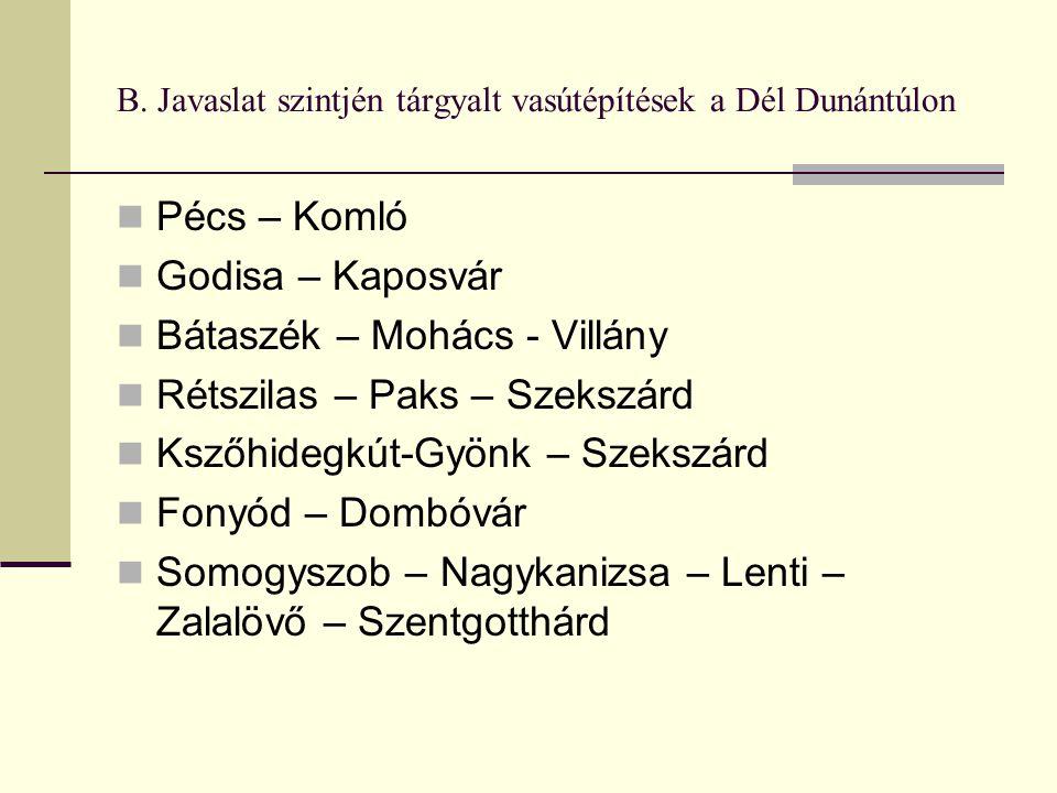 B. Javaslat szintjén tárgyalt vasútépítések a Dél Dunántúlon Pécs – Komló Godisa – Kaposvár Bátaszék – Mohács - Villány Rétszilas – Paks – Szekszárd K