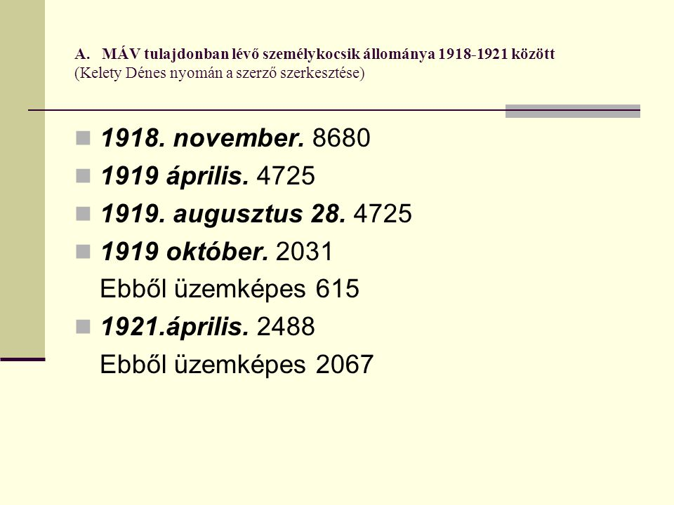 A. MÁV tulajdonban lévő személykocsik állománya 1918-1921 között (Kelety Dénes nyomán a szerző szerkesztése) 1918. november. 8680 1919 április. 4725 1