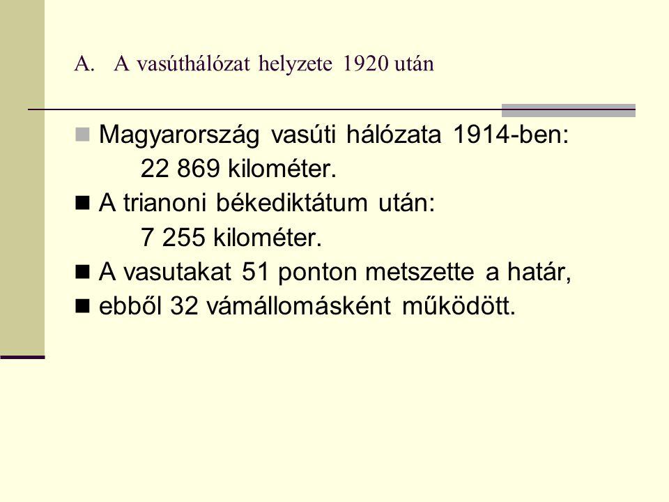 A.A vasúthálózat helyzete 1920 után Magyarország vasúti hálózata 1914-ben: 22 869 kilométer.