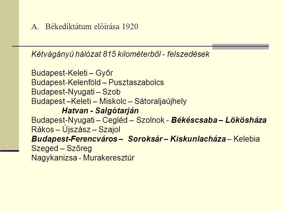 A. Békediktátum előírása 1920 Kétvágányú hálózat 815 kilométerből - felszedések Budapest-Keleti – Győr Budapest-Kelenföld – Pusztaszabolcs Budapest-Ny