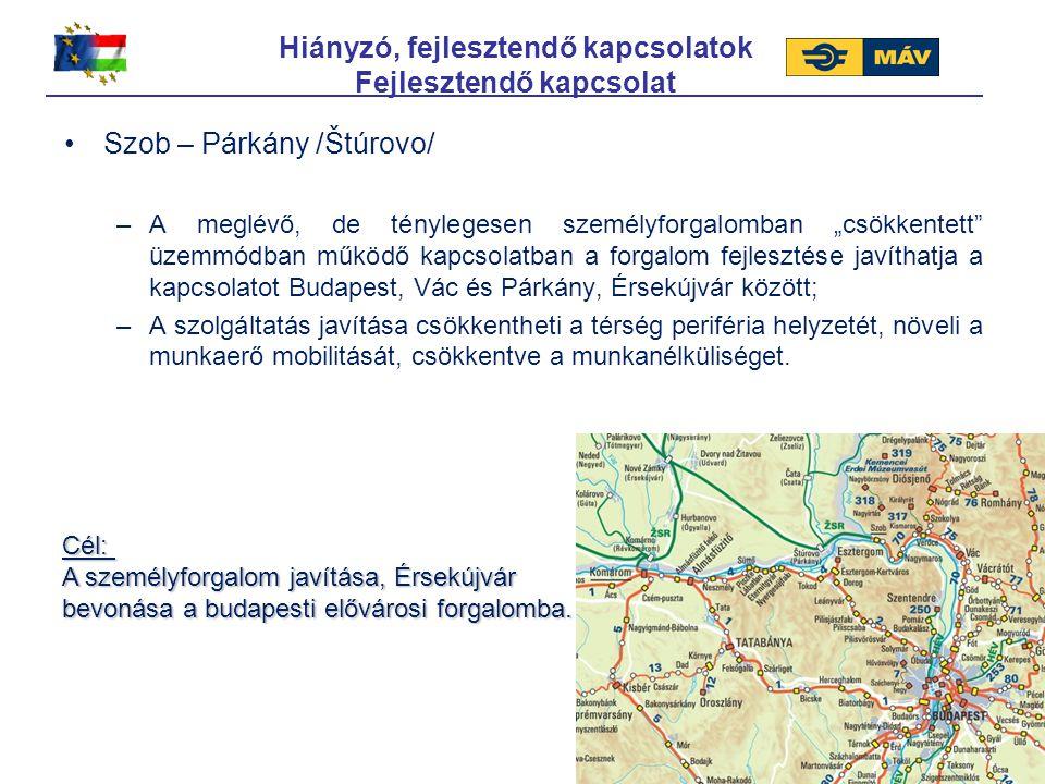 """Hiányzó, fejlesztendő kapcsolatok Fejlesztendő kapcsolat Szob – Párkány /Štúrovo/ –A meglévő, de ténylegesen személyforgalomban """"csökkentett"""" üzemmódb"""