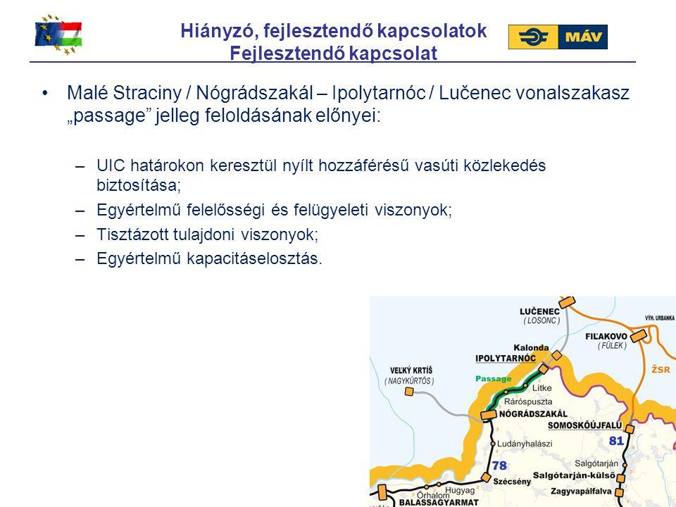 """Malé Straciny / Nógrádszakál – Ipolytarnóc / Lučenec vonalszakasz """"passage"""" jelleg feloldásának előnyei: –UIC határokon keresztül nyílt hozzáférésű va"""