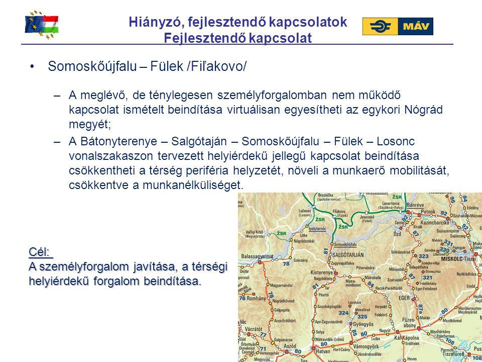 Hiányzó, fejlesztendő kapcsolatok Fejlesztendő kapcsolat Somoskőújfalu – Fülek /Fiľakovo/ –A meglévő, de ténylegesen személyforgalomban nem működő kap