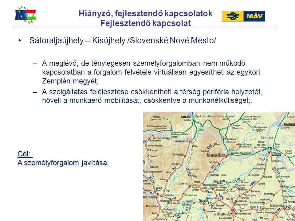Hiányzó, fejlesztendő kapcsolatok Fejlesztendő kapcsolat Sátoraljaújhely – Kisújhely /Slovenské Nové Mesto/ –A meglévő, de ténylegesen személyforgalom