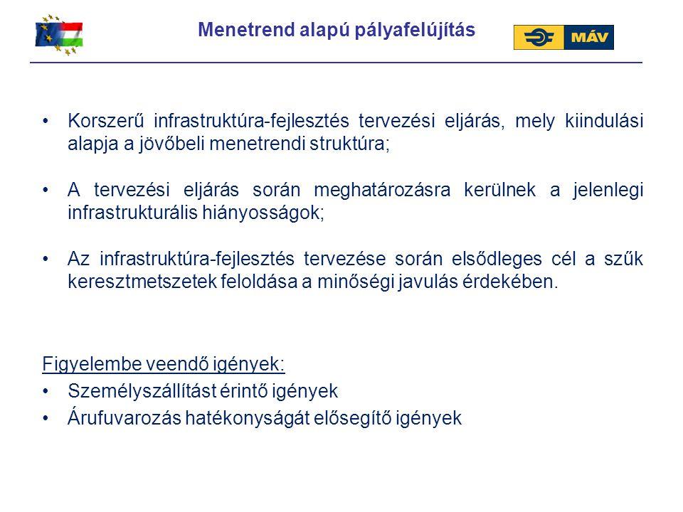 (Budapest -) Vác vonalszakasz kétvágányú, villamosított, 120 km/h pályasebesség; Vác – Szob országhatár vonalszakasz kétvágányú, villamosított; 100 km/h pályasebesség; Elvárások a személyszállítás részéről Budapest – Szob országhatár Vác állomásra 30 percenkénti eljutási lehetőség; Szob állomásra szintén 30 percenkénti eljutási lehetőség.