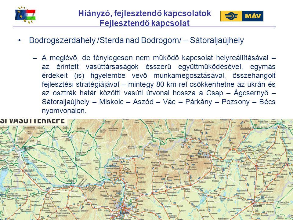 Hiányzó, fejlesztendő kapcsolatok Fejlesztendő kapcsolat Bodrogszerdahely /Sterda nad Bodrogom/ – Sátoraljaújhely –A meglévő, de ténylegesen nem működ