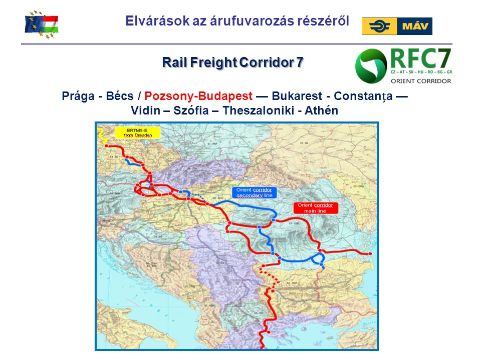 Prága - Bécs / Pozsony-Budapest — Bukarest - Constana — Vidin – Szófia – Theszaloniki - Athén Rail Freight Corridor 7 Elvárások az árufuvarozás részér