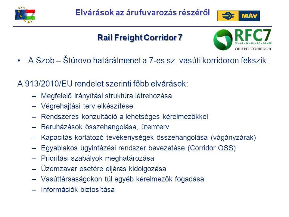 Az árufuvarozási korridorok technikai minimum követelményei: Elvárások az árufuvarozás részéről Rail Freight Corridor 7 - Teljes hosszban kétvágányú - A kiemelt forgalmat lebonyolító szakaszokon további (három vagy több) vágányokkal rendelkezik - Villamosított - Legalább 120 km/h sebességre alkalmas - 22,5 tonna tengelyterheléssel rendelkező vágányok - Az ETCS és GSM-R forgalomirányítási rendszerek kiépítése