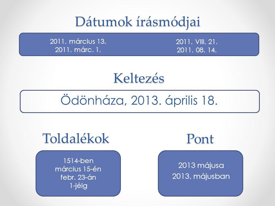 Pont 2013 májusa 2013. májusban 2011. március 13. 2011. márc. 1. 2011. VIII. 21. 2011. 08. 14. Dátumok írásmódjai Toldalékok 1514-ben március 15-én fe