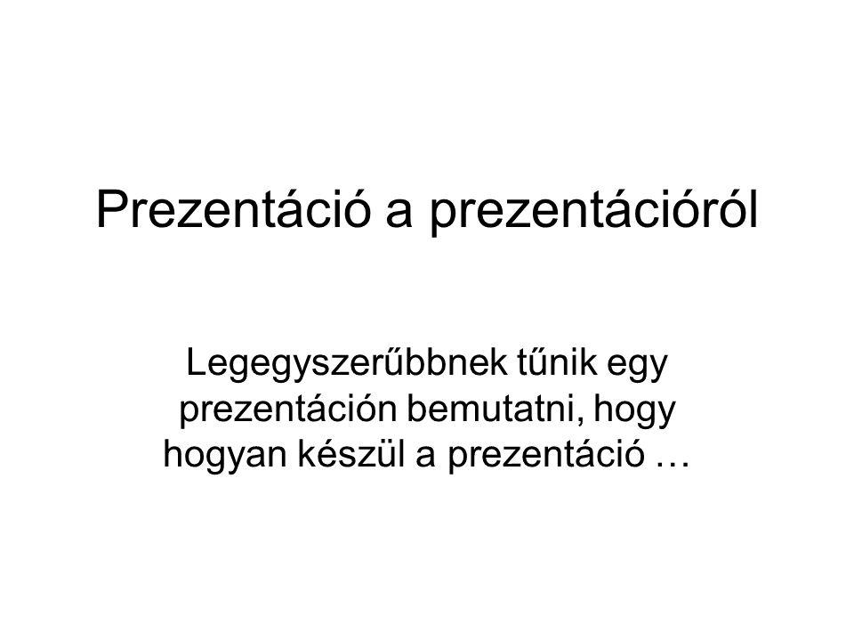 Prezentáció a prezentációról Legegyszerűbbnek tűnik egy prezentáción bemutatni, hogy hogyan készül a prezentáció …