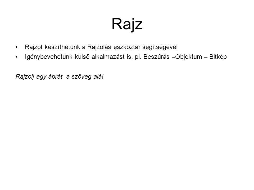 Rajz Rajzot készíthetünk a Rajzolás eszköztár segítségével Igénybevehetünk külső alkalmazást is, pl. Beszúrás –Objektum – Bitkép Rajzolj egy ábrát a s