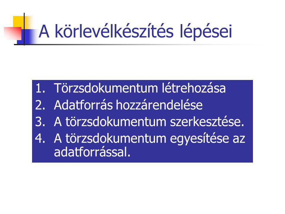 A körlevélkészítés lépései 1.Törzsdokumentum létrehozása 2.Adatforrás hozzárendelése 3.A törzsdokumentum szerkesztése. 4.A törzsdokumentum egyesítése