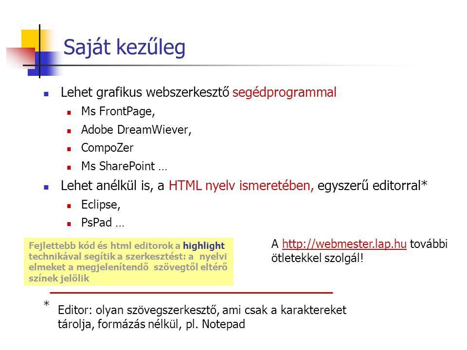 Saját kezűleg Lehet grafikus webszerkesztő segédprogrammal Ms FrontPage, Adobe DreamWiever, CompoZer Ms SharePoint … Lehet anélkül is, a HTML nyelv is