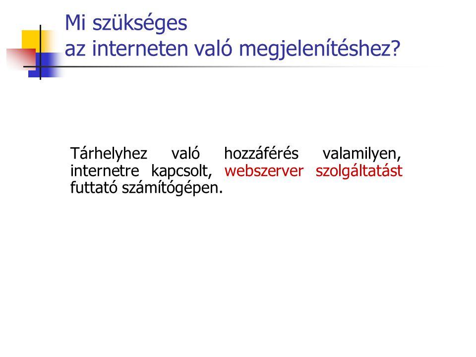 Mi szükséges az interneten való megjelenítéshez? Tárhelyhez való hozzáférés valamilyen, internetre kapcsolt, webszerver szolgáltatást futtató számítóg