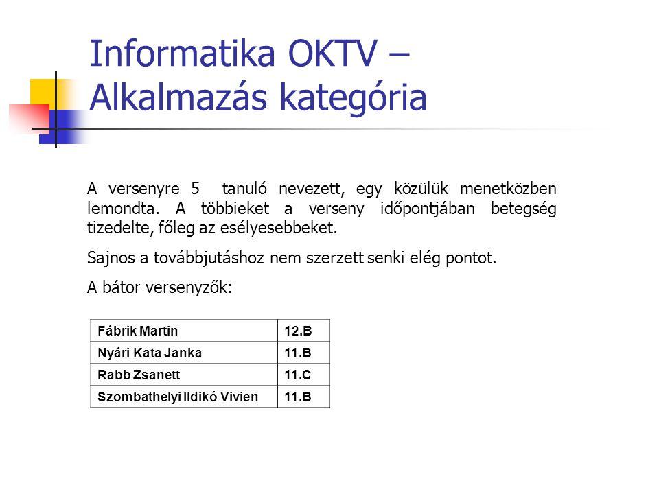 Informatika OKTV – Alkalmazás kategória A versenyre 5 tanuló nevezett, egy közülük menetközben lemondta.
