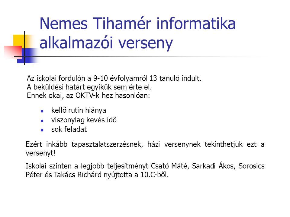 Nemes Tihamér informatika alkalmazói verseny Az iskolai fordulón a 9-10 évfolyamról 13 tanuló indult.