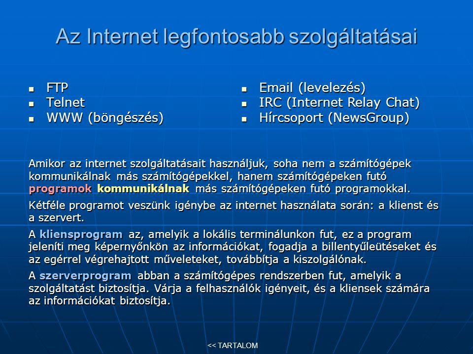 Az Internet legfontosabb szolgáltatásai FTP FTP Telnet Telnet WWW (böngészés) WWW (böngészés) Amikor az internet szolgáltatásait használjuk, soha nem