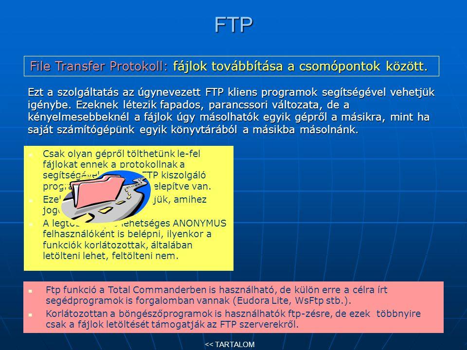 FTP Ezt a szolgáltatás az úgynevezett FTP kliens programok segítségével vehetjük igénybe. Ezeknek létezik fapados, parancssori változata, de a kényelm